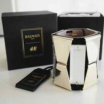 Balmain h&m Black 100% Suede Gold Metal Cuff Bracelet New With Tags and Box Photo