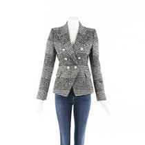 Balmain Houndstooth Wool Blazer Jacket Sz 38 Photo