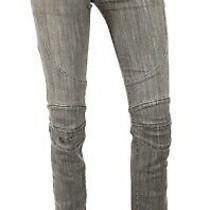 Balmain Light-Washed Gray Denim Biker Style Low-Rise Skinny Jeans 36 Photo