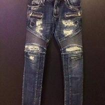 Balmain Mens Destroyed Bike Jeans Blue Size 34 Rare  Photo