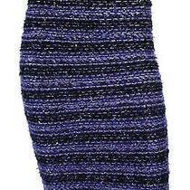 Balmain Metallic Blue & Black Striped Sequin Tweed Knit Pencil Skirt 38 Photo