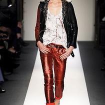 Balmain Painted-Sleeve Studded Leather Jacket Photo