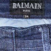 Balmain Paris Biker Blue Weave Zipper Pockets Moto Jeans 38 X 34 100% Authentic  Photo