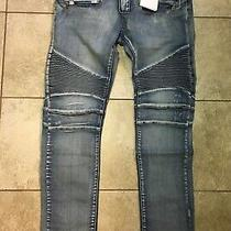 Balmain Paris Biker Denim Jeans Zipper Pocket Distressed Moto Skinny Fit Men 38 Photo