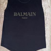 Balmain Paris Ladies T-Shirt Black Gold Logo Size 38 Meduim Photo
