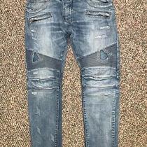 Balmain Paris Moto Jeans Size 34 Double Zipper Pockets Hardly Worn Photo