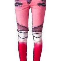 Balmain Pink Printed Jeans Photo