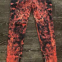 Balmain Red & Black Print Denim Skinny Zip Detail Low Rise Pant Sz 40 Fr Photo