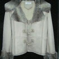 Balmain Shearling Short  Fur Coat Beige  Women's  /  Size 40  Photo