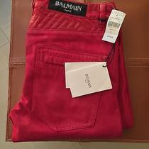 Balmain Waxed Geometric Denim Red Destroyed Painted Crash  Photo