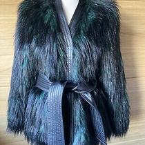 Balmain X h&m Black Green Designer Faux Leather & Fur Belted Jacket Coat 38 10 Photo