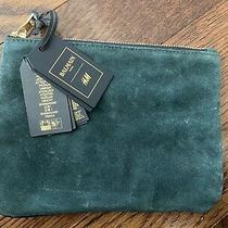 Balmain X h&m Clutch Bag Limited Edition Green Suede and Black Leather Photo