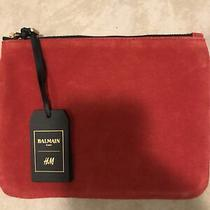 Balmain X h&m Red Suede & Black Leather Pouch Clutch Bag Gold Hardware  Photo