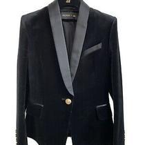 Balmain X Hm Black Velvet Tuxedo Blazer Gold Buttons Size S 38eu 10uk Photo