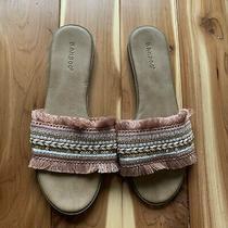 Bamboo Flat Sandals Blush Pink White Sequin & Fringe Size 8 Photo