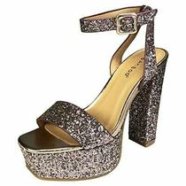 Bamboo Women's Single Band High Platform Sandal With Ankle Blush Glitter Size Photo