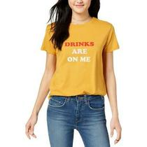 ban.do Womens Drinks Are on Me Yellow Cotton Slogan T-Shirt Top L Bhfo 6287 Photo