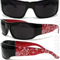 Ban Red Black Paisley Bandana Sunglasses Super Dark Lenses Og Loc Photo