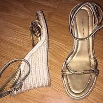 Banana Republic 6 M Gold Twisted Leather Ankle Strap Wedge High Heel Photo