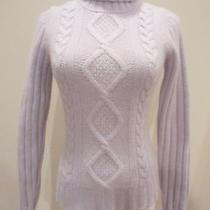Banana Republic Angora Blend Blue Cable Knit Turtleneck Sweater Sz Xs Euc Photo