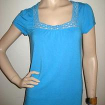 Banana Republic Aqua Blue Crochet Trim T-Shirt Top S Photo