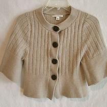 Banana Republic Beige-Brown 100% Wool 3/4-Ss Cardigan Sweater Jacket Sz M Photo