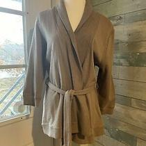 Banana Republic-Beige Wrap 3/4 Sleeve Belt  Sweatshirt Sweater Jacket- L   Photo