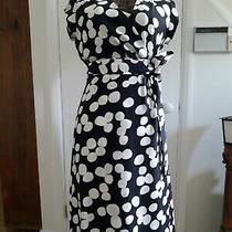 Banana Republic Black and White Spot 100% Silk Wrap Dress Size 10 Photo