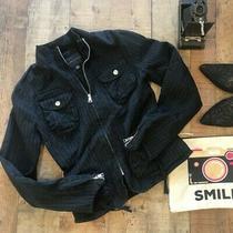 Banana Republic Black Moto Jacket Pin Striped Size Xs Zip Front Pockets Photo