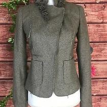 Banana Republic Blazer Jacket Size 0 Brown Herringbone Wool Rosettes Ruffles Photo