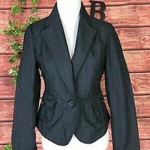 Banana Republic Blazer Jacket Size 6 Black Gray Plaid Stretch Classic Preppy Photo