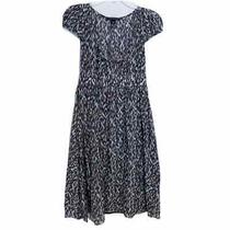 Banana Republic Blue Brown Dot Print Midi Dress - Women's Size 0 Split Neck Photo