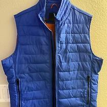 Banana Republic Blue Primaloft Puffer Vest Orange Lining Mens Size L Photo
