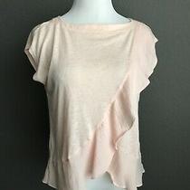 Banana Republic Blush Ruffle Slub Knit Top Women Medium Peach Sleeveless Shirt Photo