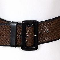 Banana Republic Brown Black Genuine Leather Braided Wide Corset Belt Sz Xs/s(e89 Photo