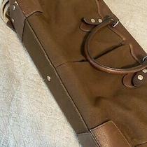 Banana Republic Canvas Leather Laptop Messenger Bag Photo