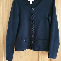 Banana Republic Cardigan Jacket & Pockets Size S Black & Metal Buttons Photo