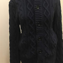 Banana Republic Chunky Cable Knit Button Up Heavy Sweater Cardigan Women Navy S Photo