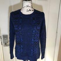 Banana Republic Crew Neck Cable Knit Sweater Blue/black  Size S Photo