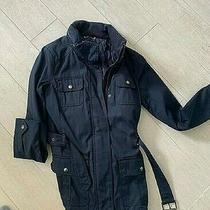 Banana Republic Dark Blue Parka Jacket Hooded Belted Lined Size Xs Rain Coat Photo