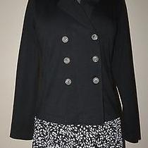 Banana Republic  Double Breasted Short Solid Black Blazer Cotton Blend Size S Photo