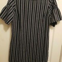 Banana Republic Dress  Black Stripe  Zip Back  Short Sleeve  Size 12  Nwt Photo