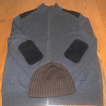 Banana Republic Full Zip Charcoal Sweater With Suede Lamb Patches With Free Hat Photo
