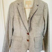 Banana Republic Hacking Jacket Blazer Gray Wool Women's Size 4 Elbow Patches Photo