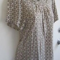 Banana Republic High Neck Short Sleeves Floral Print Gray Blouse Top Size Xs Photo