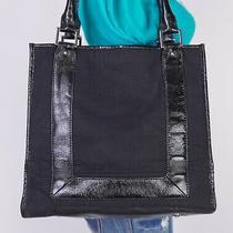 Banana Republic Large Black Leather Fabric Shoulder Hobo Tote Satchel Purse Bag Photo