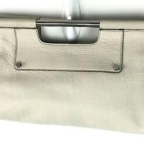 Banana Republic Leather Handbag Purse Ivory Pebbled Handle  Photo