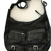 Banana Republic Leather Hobo Slouch Shoulder Purse - Black Photo