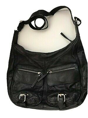 Banana Republic Leather Hobo Slouch Shoulder Purse - Black Photo