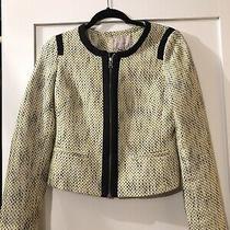 Banana Republic Lime Green Black & White Tweed Blazer Size 6 Womens Photo